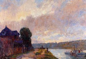 Tugboat On The Seine Chatou by Quot Rimorchiatore Sulla Senna Chatou Quot Olio Di Maurice De