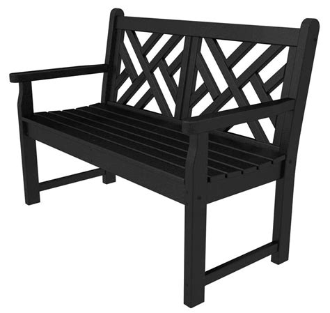black outdoor bench object moved