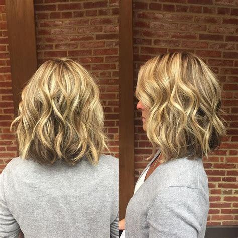 blonde wavy long bob with short layers medium length