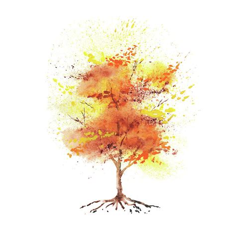 Autumn Wallpapers Watercolor by Splash Of Fall Watercolor Tree Painting By Irina Sztukowski