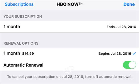 how to turn automatic renewal on iphone how to cancel hbo now using your iphone or