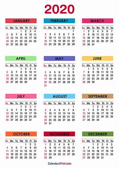 Calendar Printable Holidays Calendars Sunday Colorful Start