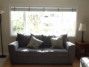 Windows treatment options for bay window sofa in front for Couch and sofa table in front of window