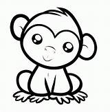 Coloring Pages Cartoon Monkeys Monkey Cute Popular sketch template