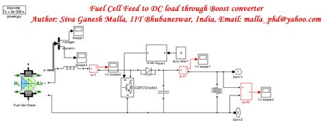 matlab cell to fuel cell feed to dc load through boost converter file