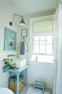 blue white beachy bathroom farrow paint antique fixtures from coastal living