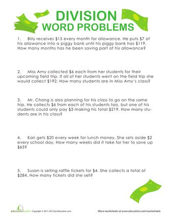 4th grade math worksheet division word problems 4th grade division word problems education
