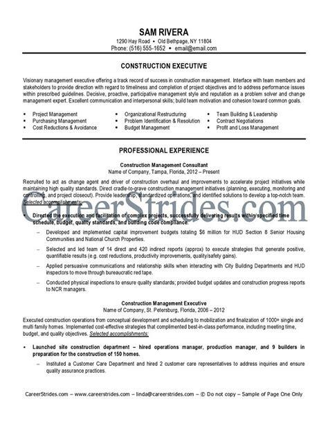 construction resume sle exle