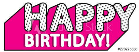 happy birthday banner text  hot pink shadow themed