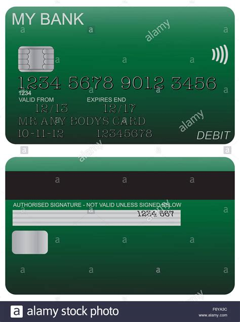Check spelling or type a new query. Front and back of green debit card design with detail isolated on a Stock Photo: 90340416 - Alamy