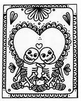 Skeleton Coloring Skull Valentine Sugar Adult Colouring Printable Printables Wenchkin Dia Yucca Flats Colored Skulls Keys Adults Skeletons Muertos Los sketch template
