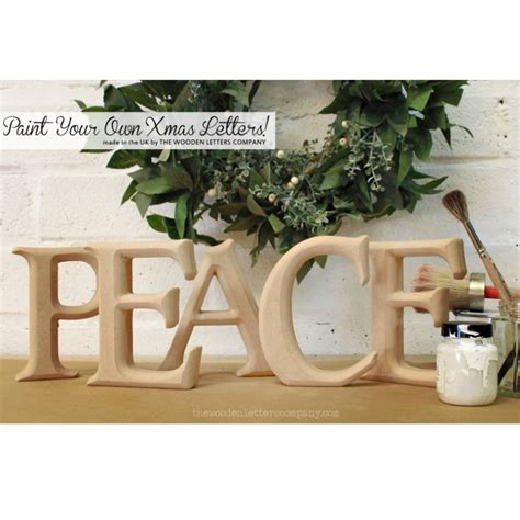peace unpainted christmas letters  wooden letters company