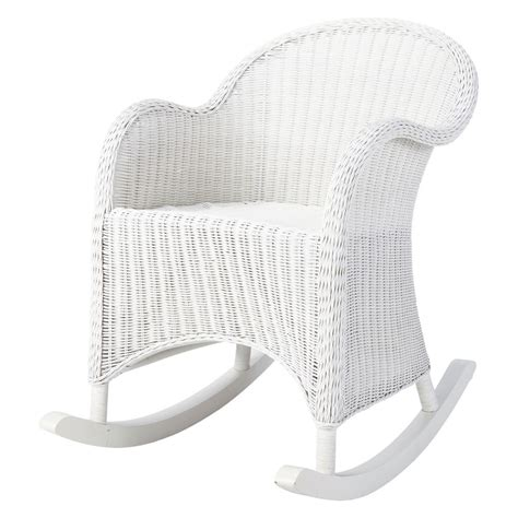 rocking chair enfant en rotin blanc oc 233 an maisons du monde