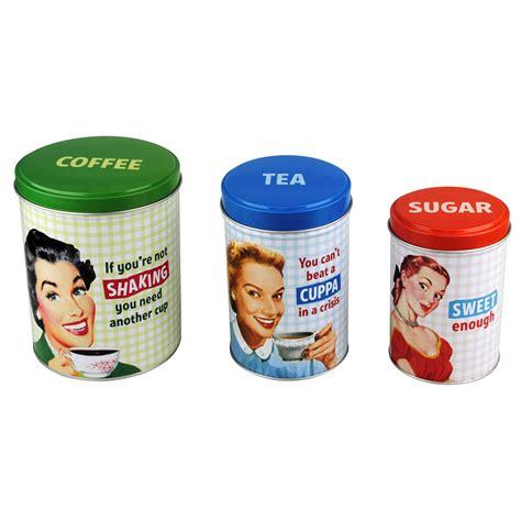 retro kitchen canisters tea coffee sugar canisters jar retro kitchen humour ebay