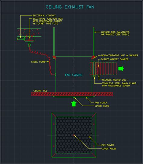 ceiling exhaust fan cad block  typical drawing