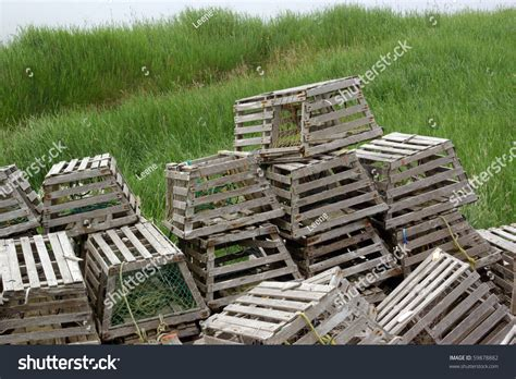 decorative lobster traps large wooden lobster traps stock photo 59878882