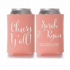 wedding koozies cheers y39all personalized can coolers With beer koozie wedding favors