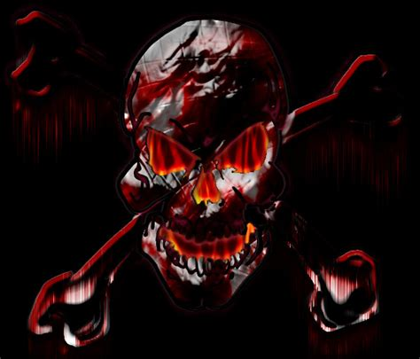flaming bleeding skull  dezertrat  deviantart