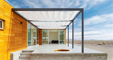prefab desert getaway house  retractable covered deck