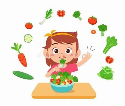 Eat Fruits Kid Cartoon Salad Vegetable Happy