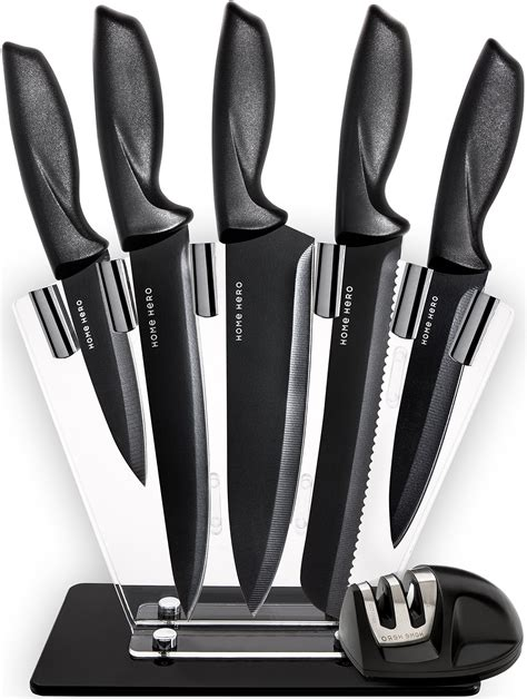 knife knives chef kitchen cutlery sharpener professional steel stainless stand piece plus amazon hero knifes prime