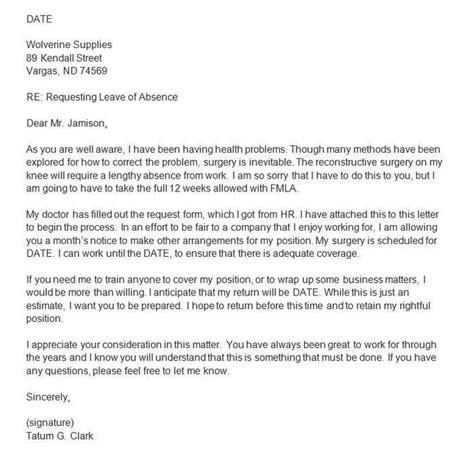 write  family leave  absence letter platte