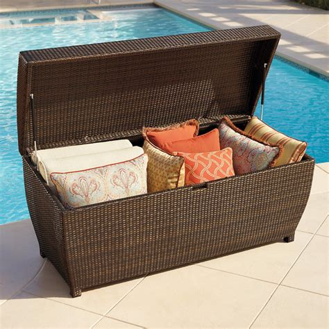 all weather wicker outdoor storage chest small