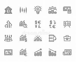 Investment Line Icon Set  Stock Market  Bond  Financial