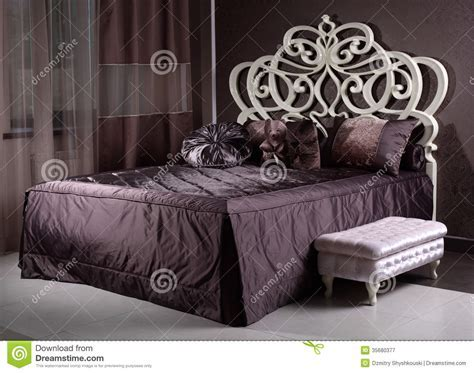 Luxury Wooden Bed In The Room Stock Image   Image: 35680377
