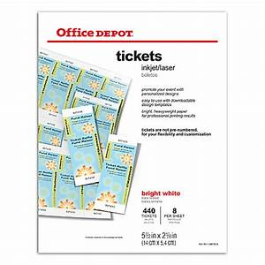 Office depot brand inkjetlaser tickets 5 12 x 2 18 bright for Office depot raffle ticket template