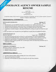 cv for inplant insurance agency owner resume sle resume sles across all industries resume
