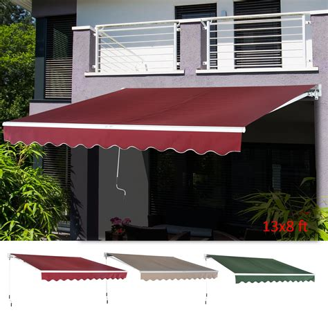 outdoor xx patio awning sun shade canopy shelter manual retractable ebay