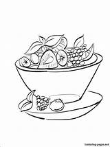 Salad Fruit Coloring Drawing Pages Line Bowl Drawings Sketch Printable Template sketch template