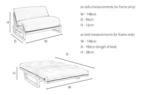 Sofa Bed Size by 2 Seater Birch Sofa Bed Futon Company
