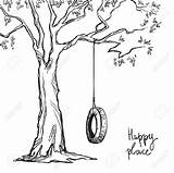Swing Tree Coloring Pages Drawings Drawing Adult Sketch Swings Tyre Printable Tire Garden Trees Vector Easy Books Template Inspo Illustration sketch template
