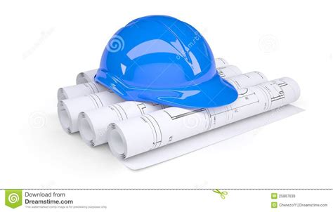 Blue Construction Helmet On The Rolls Of Drawings Stock