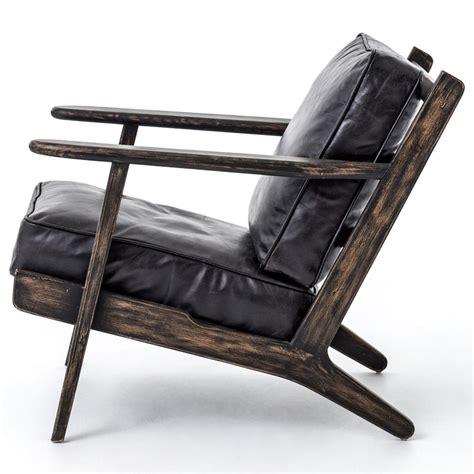 rider mid century modern oak black leather armchair