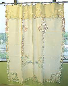 battenburg lace shower curtains ecru color piineapple