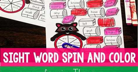 Camping Sight Words Spin And Color Game  Totschooling  Toddler, Preschool, Kindergarten