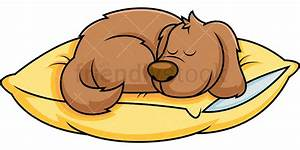 Dog Cartoon Sleeping On Pillow Vector Clipart - FriendlyStock