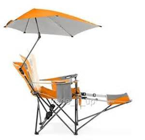 sportbrella folding recliner beach garden chair w footrest