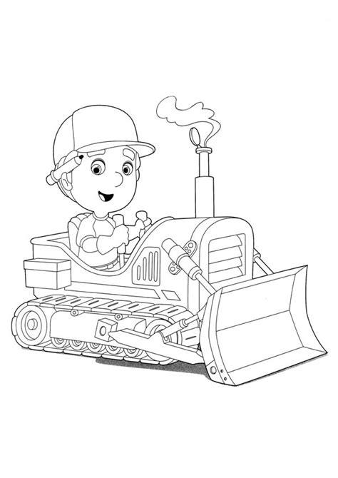 dibujo  colorear de manny manitas en su excavadora