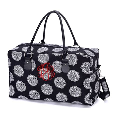 personalized girls womens black swirl foral weekender bag