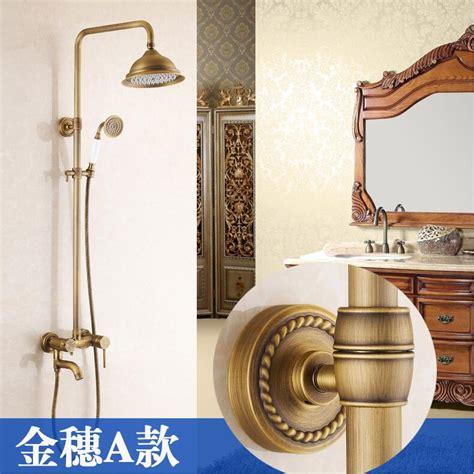 arrival antique brass finish bathroom rainfall