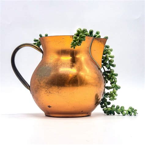 copral portuguese copper pitcher water jug  brass handle etsy brass handles water jug
