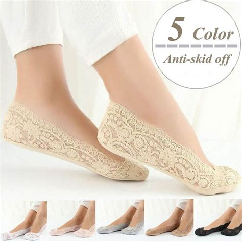 new fashion womens cotton blend lace antiskid invisible low cut socks toe ankle sock 029 45 in