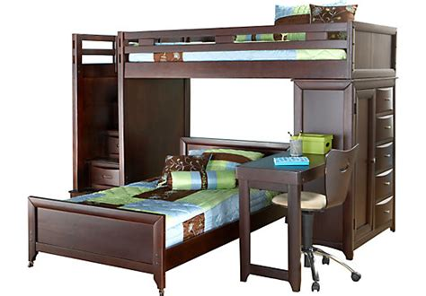 rooms to go childrens desk ivy league cherry twin twin step loft bunk w chest and