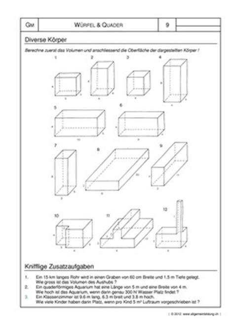mathematik geometrie arbeitsblatt wuerfel quader koerper
