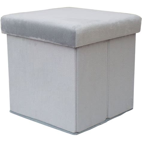 Folding Storage Ottoman by Mainstays Collapsible Plush Storage Ottoman Grey Ebay