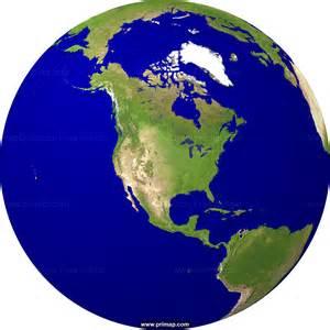 World Globe Map USA